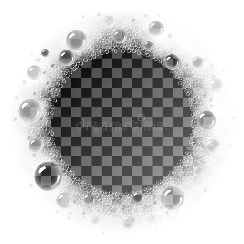 Struttura del cerchio della schiuma del sapone di vettore che ricopre sul fondo trasparente illustrazione vettoriale