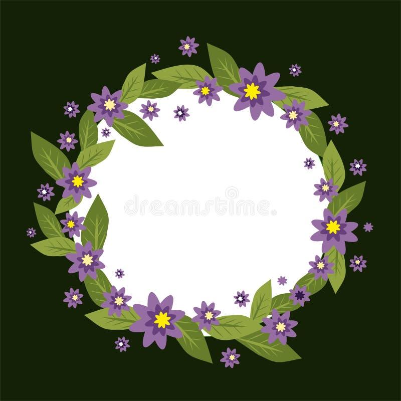 Struttura del cerchio di vettore fatta dei fiori Raccolta di estate e della primavera Modello dell'invito di vettore Corona del f illustrazione vettoriale