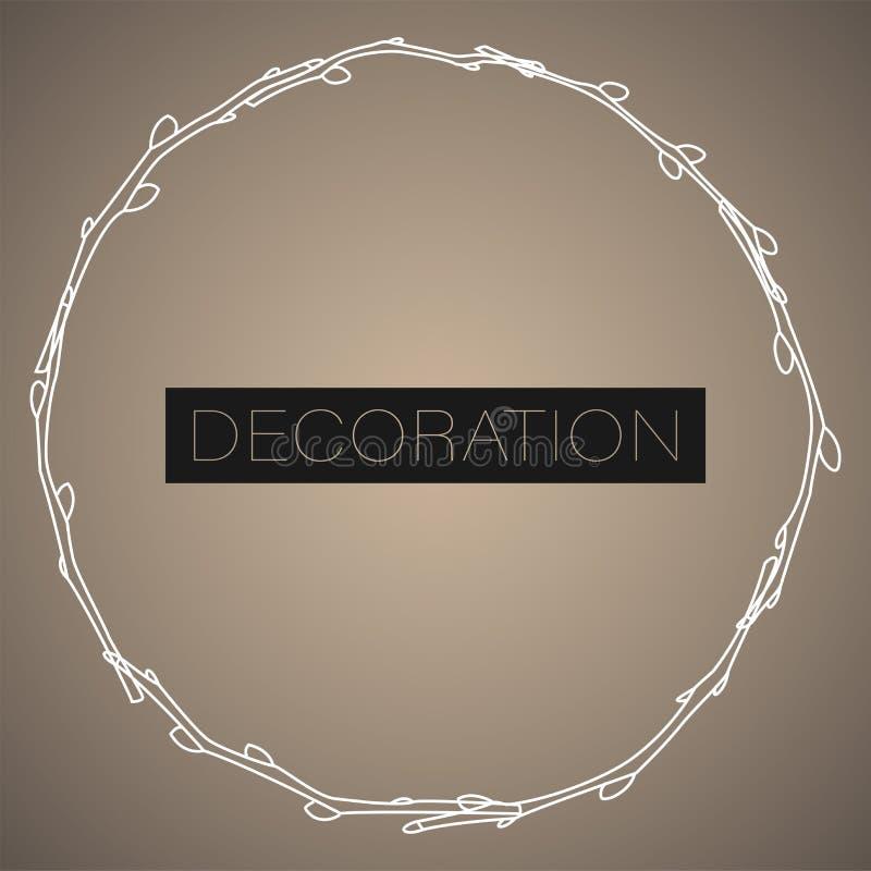Struttura del cerchio fatta dei rami del salice Illustrazione di vettore della decorazione di Pasqua illustrazione di stock