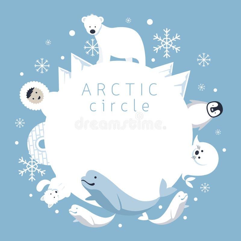 Struttura del Circolo polare artico, animali, la gente illustrazione vettoriale