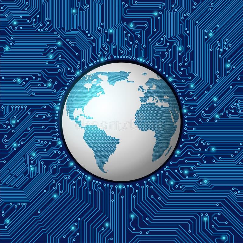 Struttura del circuito con il globo illustrazione di stock