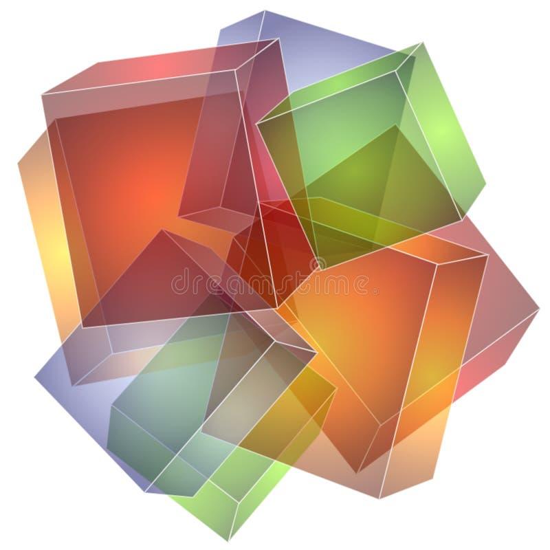 Struttura del collage dei quadrati dei cubi illustrazione di stock