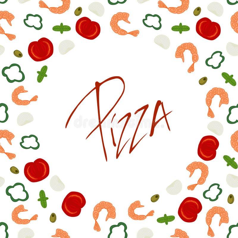 Struttura del confine del fondo con gli ingredienti della pizza illustrazione di stock
