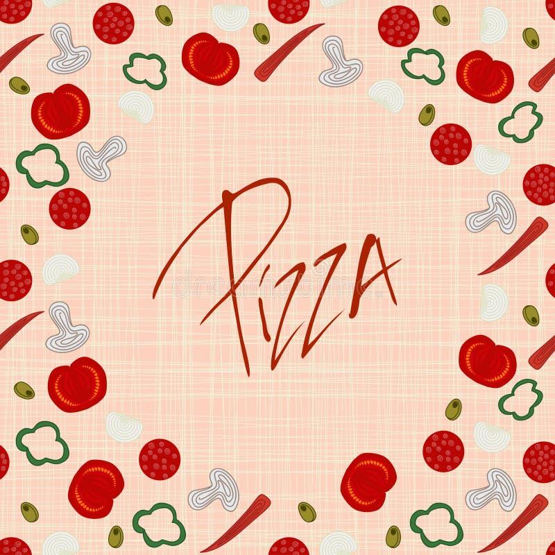 Struttura del confine del fondo con i vari ingredienti della pizza illustrazione vettoriale