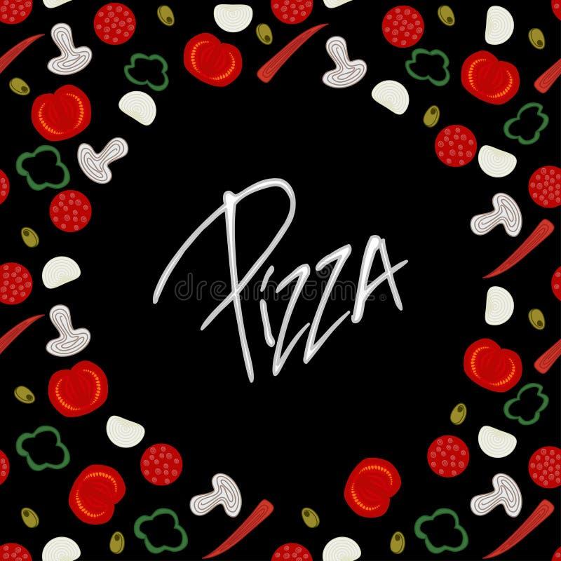 Struttura del confine del fondo con i vari ingredienti della pizza sul nero affettuoso royalty illustrazione gratis