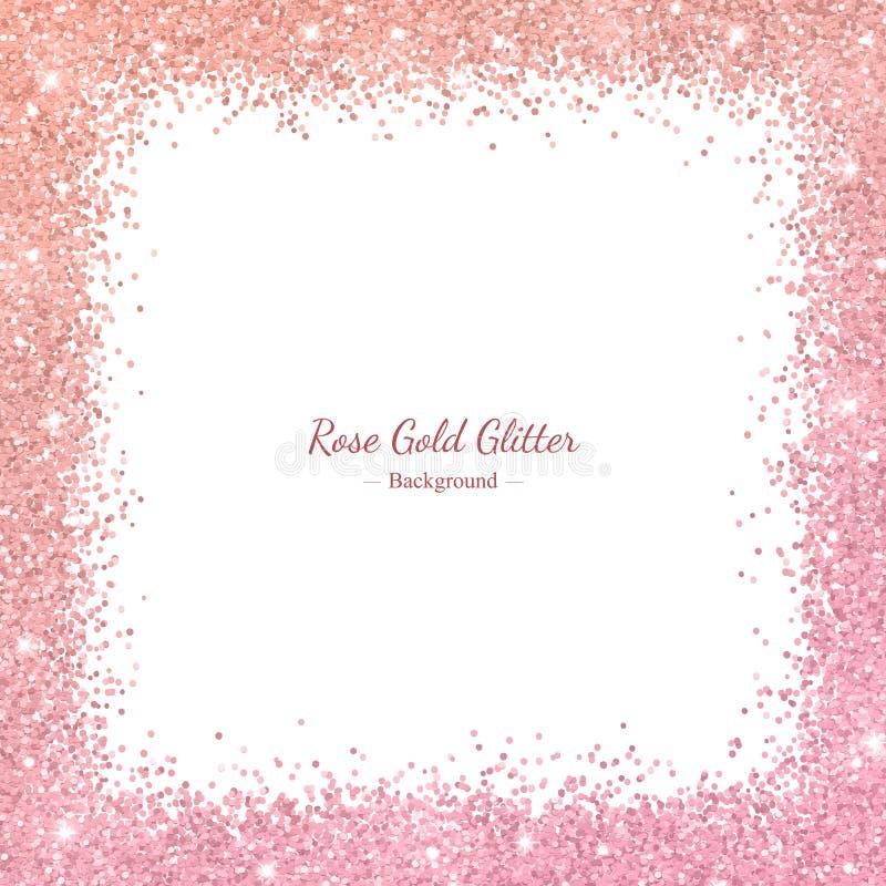 Struttura del confine di scintillio dell'oro di Rosa con effetto di colore su fondo bianco Vettore illustrazione vettoriale
