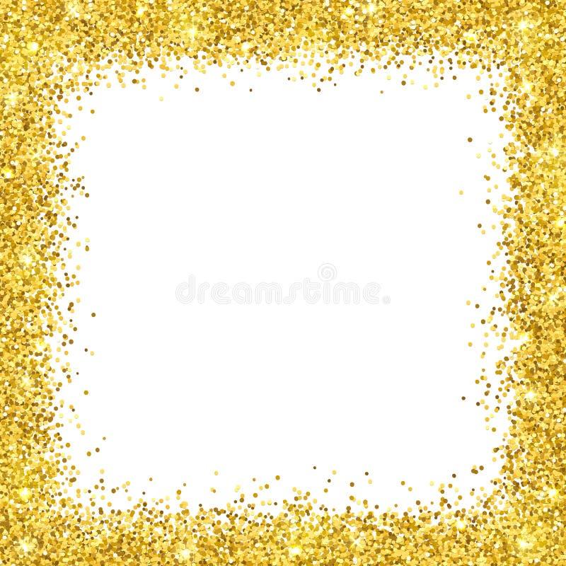 Struttura del confine di scintillio dell'oro su backround bianco Vettore illustrazione di stock