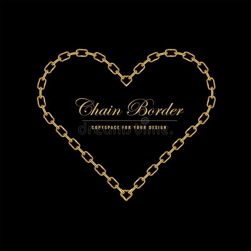 Struttura del confine del quadrato della catena dorata Confine di forma del cuore con colore dorato Progettazione dei gioielli Il royalty illustrazione gratis