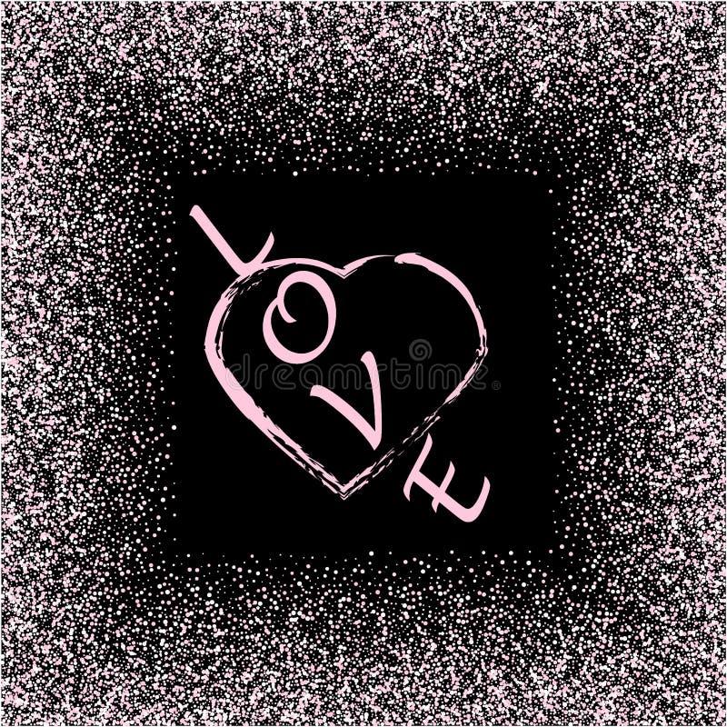 Struttura del cuore di scintillio dell'oro di Rosa Confine rosa Polvere di vettore isolata sul nero Grande per le carte di giorno illustrazione vettoriale