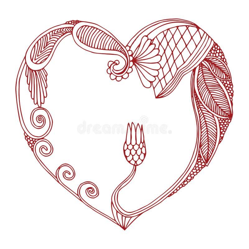 Struttura del cuore fatta di progettazione floreale ornata illustrazione di stock