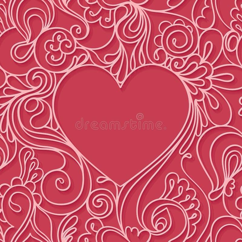 Struttura del cuore su un fondo rosso Reticolo senza giunte del merletto illustrazione vettoriale
