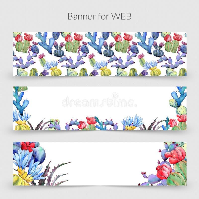 Struttura del fiore del cactus del Wildflower in uno stile dell'acquerello illustrazione di stock