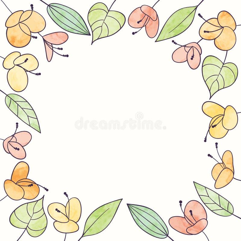 Struttura del fiore dell'acquerello di vettore Illustrazione floreale di tiraggio della mano illustrazione di stock