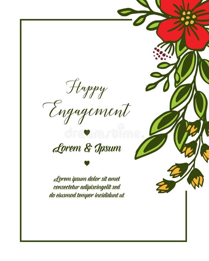 Struttura del fiore della foglia dell'illustrazione di vettore con la lettera dell'impegno felice illustrazione vettoriale
