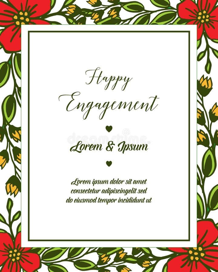 Struttura del fiore della foglia dell'illustrazione di vettore con la lettera dell'impegno felice royalty illustrazione gratis