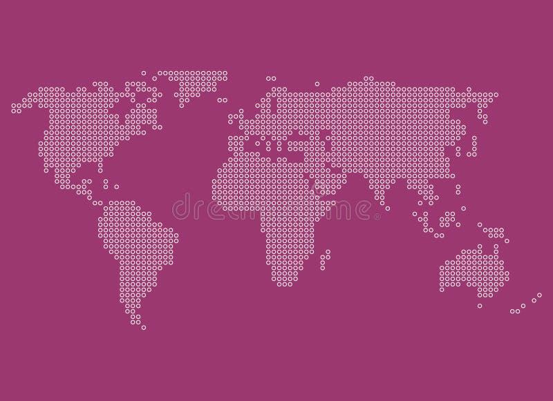 Struttura del fondo punteggiata bianco porpora della mappa di mondo illustrazione di stock