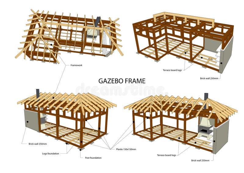 Struttura del gazebo con l'illustrazione di vettore della griglia del bbq Piano architettonico dettagliato illustrazione vettoriale