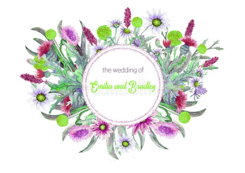 Struttura del giro di nozze dei fiori selvaggi watercolor Arrangem del fiore illustrazione di stock