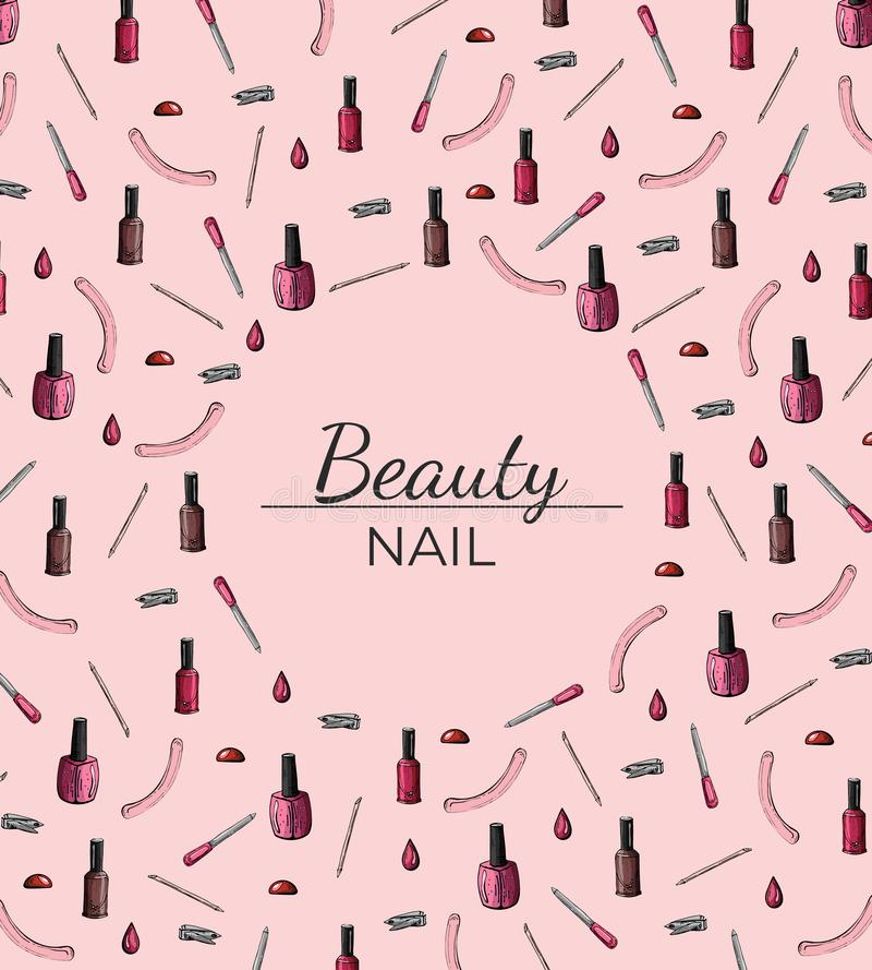 Struttura del manicure con spazio per testo su un fondo rosa royalty illustrazione gratis