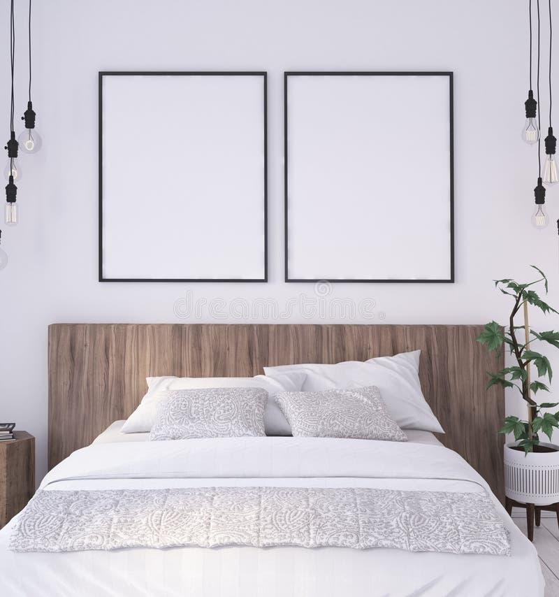 Struttura del manifesto del modello nel fondo interno della camera da letto rustica illustrazione di stock