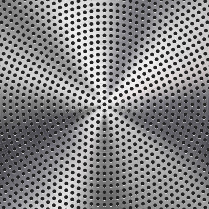 Struttura del metallo con il fondo perforato del cerchio illustrazione di stock