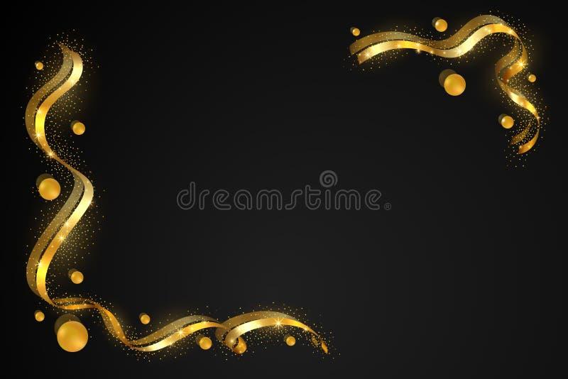 Struttura del nastro dell'oro Progettazione tortuosa dorata Confine decorativo della fiamma, fondo nero isolato Struttura della d illustrazione di stock
