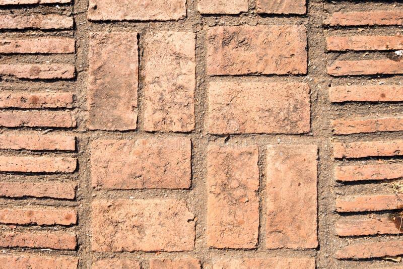 Struttura del pavimento della pietra per lastricati del blocchetto del mattone progettazione quadrata del patio della pavimentazi fotografia stock
