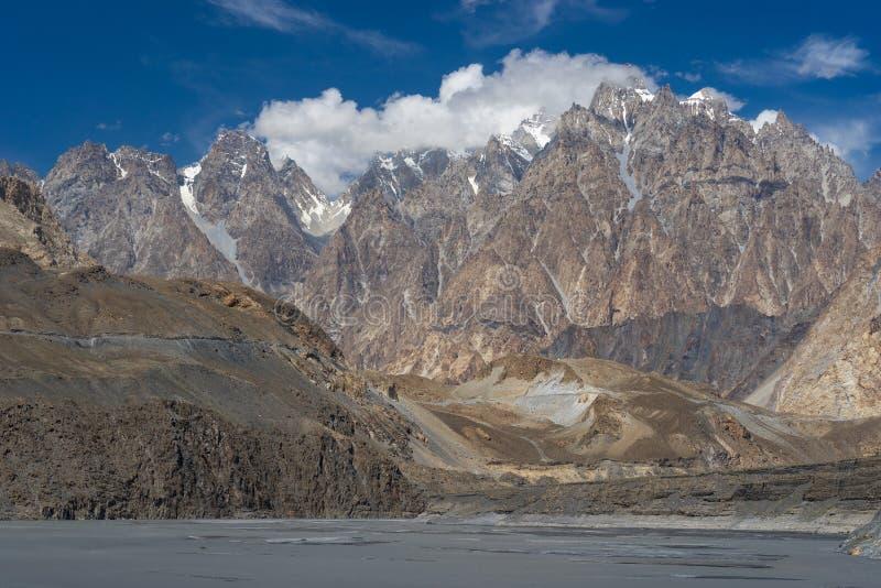 Struttura del picco della cattedrale di Passu, valle di Hunza, Gilgit, Pakistan fotografie stock libere da diritti