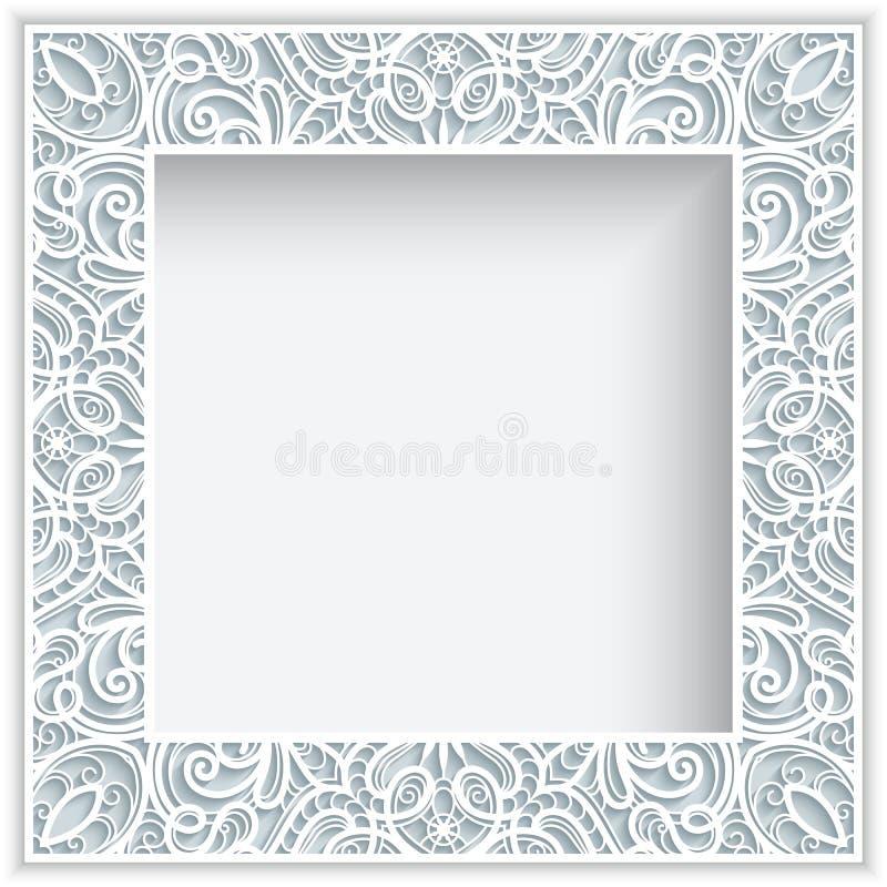 Struttura del pizzo della carta quadrata illustrazione vettoriale