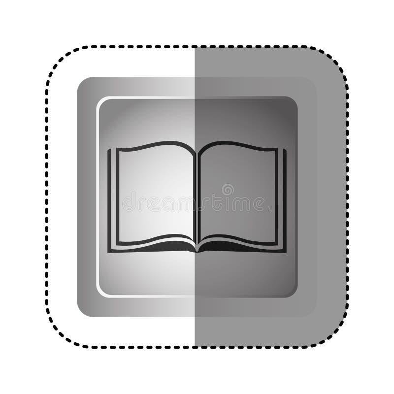 struttura del quadrato di gradazione di grigio dell'autoadesivo con il libro aperto royalty illustrazione gratis