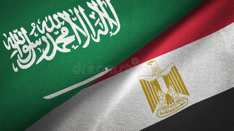 Struttura del tessuto del panno del tessuto delle bandiere dell'Arabia Saudita e dell'Egitto due royalty illustrazione gratis