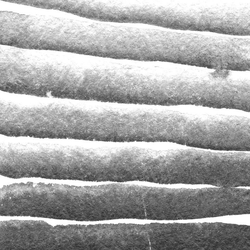 Struttura dell'acquerello, bande orizzontali del nero, gray e bianco Illustrazione Fondo dell'estratto di lerciume dell'acquerell illustrazione vettoriale