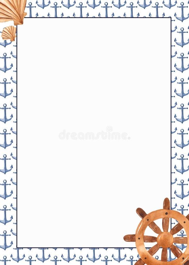 Struttura dell'acquerello con le ancore nello stile nautico royalty illustrazione gratis