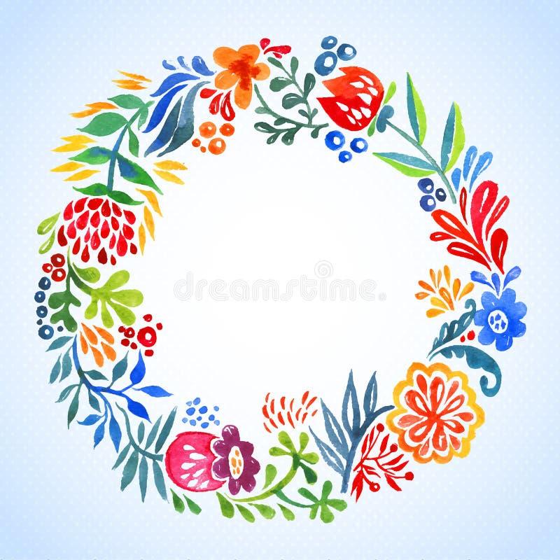 Struttura dell'acquerello con le foglie ed i fiori con stanza royalty illustrazione gratis