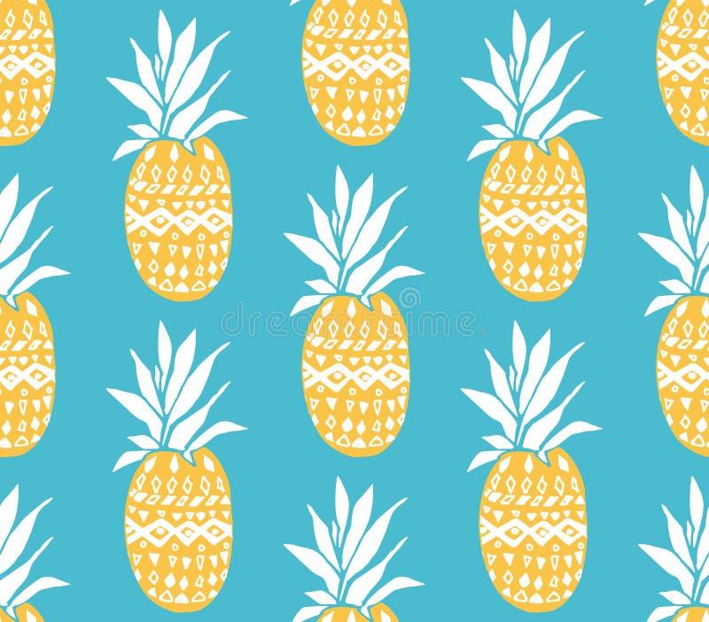 Struttura dell'ananas con i frutti gialli disegnati a mano a fondo blu Reticolo senza giunte di vettore illustrazione di stock