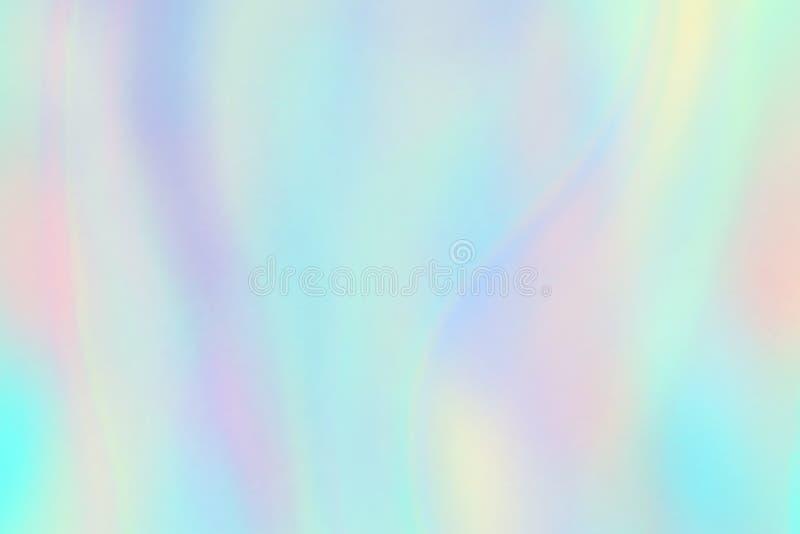 Struttura dell'arcobaleno Fondo iridescente della stagnola dell'ologramma Modello pastello di vettore dell'unicorno di fantasia illustrazione vettoriale