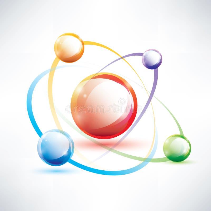Struttura dell'atomo, icona lucida astratta illustrazione vettoriale