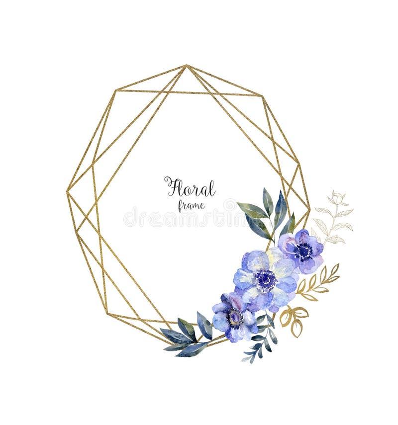 Struttura dell'erbario dell'acquerello con i fiori Carta di arte con l'anemone blu illustrazione di stock