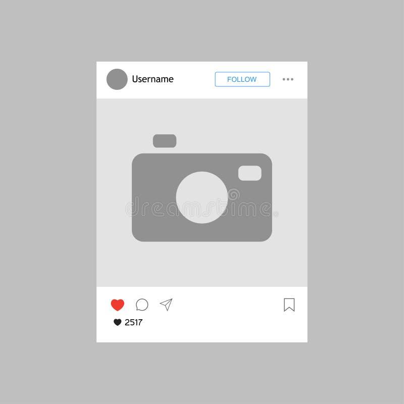 Struttura dell'interfaccia della foto con cuore Disegno moderno Illustrazione di vettore illustrazione di stock