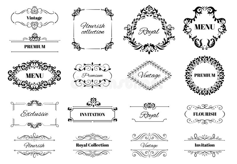 Struttura dell'ornamento della decorazione Testo decorato di motivo calligrafico d'annata, strutture ornamentali e vettore decora illustrazione vettoriale