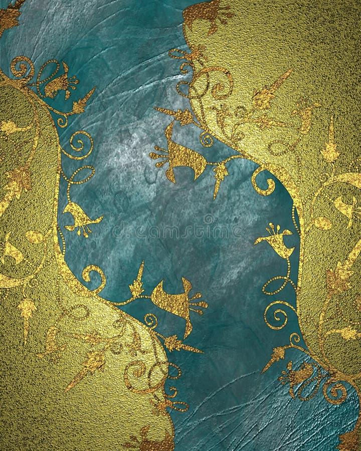 Struttura dell'oro con i modelli dei fiori Elemento per progettazione Mascherina per il disegno copi lo spazio per l'opuscolo del royalty illustrazione gratis