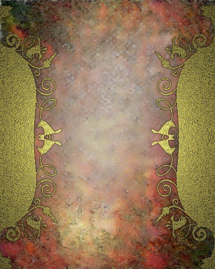 Struttura dell'oro con i modelli dei fiori su fondo rosso Elemento per progettazione Mascherina per il disegno copi lo spazio per illustrazione di stock