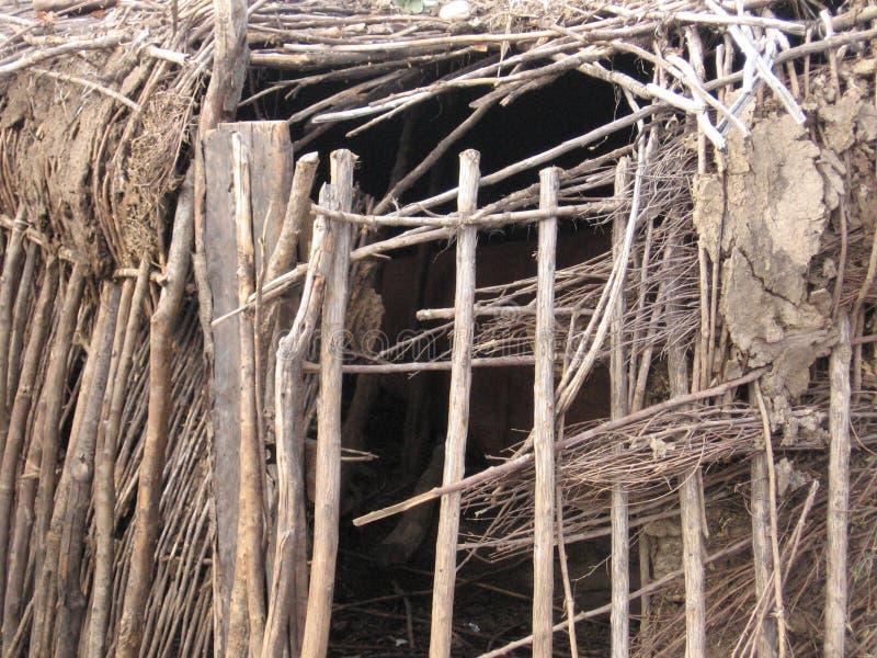 Struttura della capanna di Maasai fotografie stock