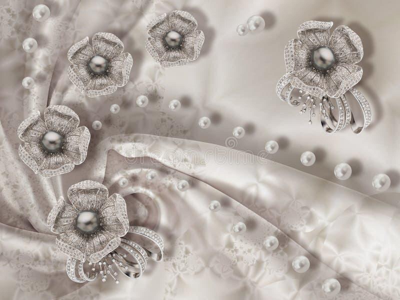 struttura della carta da parati 3d, fiori dei gioielli, perle nere su fondo di seta grigio Fondo di celebrazione 3d illustrazione di stock