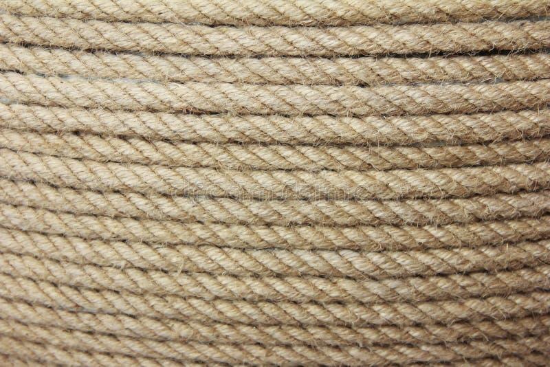Struttura della corda della canapa di Brown con i fili fini immagini stock libere da diritti