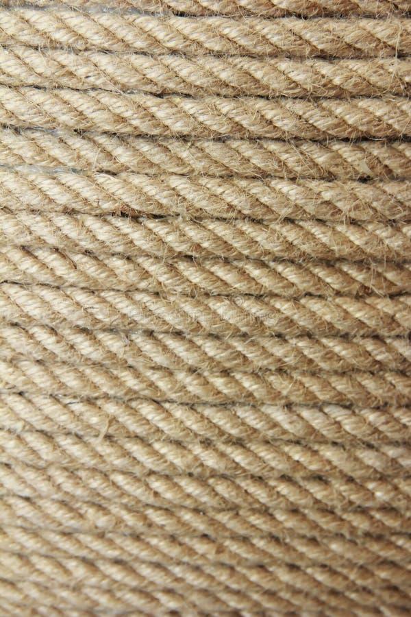 Struttura della corda della canapa di Brown con i fili fini fotografia stock