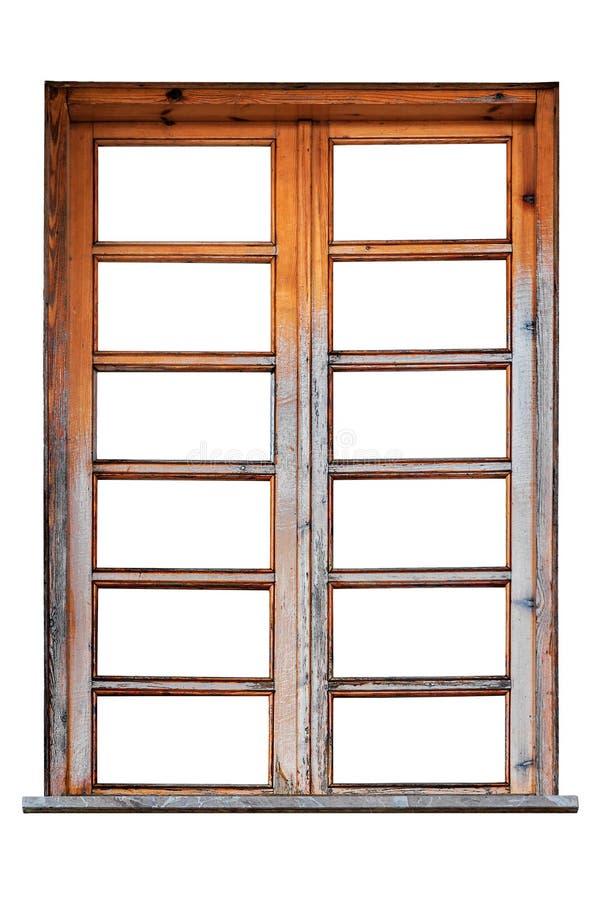 Struttura della finestra di legno isolata su fondo bianco immagine stock