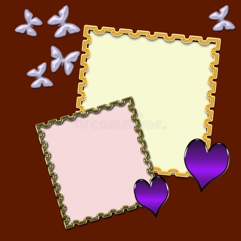 Struttura della foto con le farfalle ed i cuori su un fondo del chiaretto illustrazione di stock