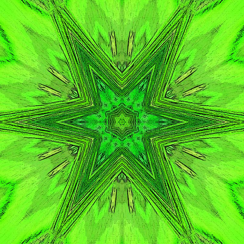 Struttura della mandala e fiore del tatuaggio di vita o modello dello stampino, la geometria sacra nel verde e calce illustrazione vettoriale
