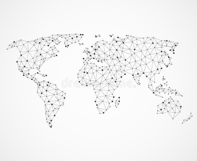 Struttura della mappa di mondo della rete, poli terra bassa Concetto di comunicazione globale di vettore royalty illustrazione gratis